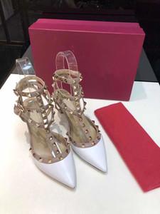 modo sexy Designershoes punta Toe3- -Strap con Studsheniueleather pelle tacco Patent rivetti Sandali donna Studded St
