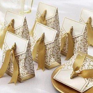 Or boîte-cadeau Wrap mariage Favor Sac doux gâteau bonbons papier cadeau Boîtes Sacs de fête d'anniversaire anniversaire de baby shower HH7-1822 Présents