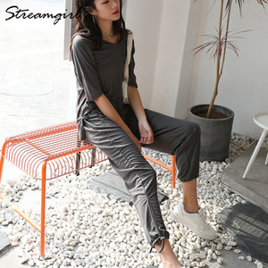 Streamgirl Due pezzi Pantaloni Set donne di estate cotone sciolto Lino Lace Up pantaloni per le donne 2 Parte dell'arco per l'estate Set