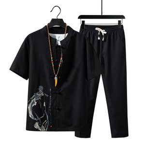 5XL Summer Cotton Linen Short-sleeved Men Shirt And Drawstring Strap Ankle Length Pants Chinese Style Men Two-piece Set XXXXXL