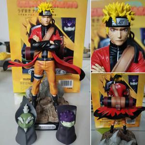 Ozumaki Naruto Sage Mode Action Figure Toys Naruto Shippuden Anime Figurine With Frog Collectible Model Dolly 220mm MX200319