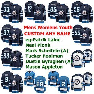 Winnipeg Jets Jerseys para mujer Patrik Laine Jersey Neal Pionk Marcos Scheifele Tucker Poolman Dustin BYFUGLIEN hockey jerseys cosido personalizada