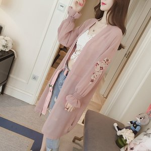 Summer embroidery trumpet sleeve chiffon women's Midi casual loose long sleeve sunscreen Embroidered coat cardigan coat