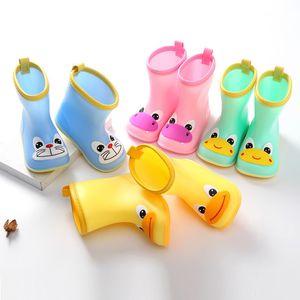 Kinder 3D Cartoon Breite Kopf Kinder regen Schuhe Wasserdichte Stiefel Wellies Wasser Regen PVC Anti-Rutsch-Boot Kinder Four Seasons Regen Schuhe