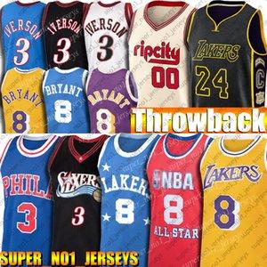 Bryant retroceso Jersey Allen Iverson 3 jerseys de Carmelo Anthony 00 jerseys 76er Blazer Baloncesto Jersey Negro Mamba Crenshaw