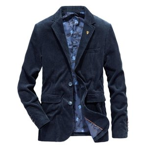 Chaqueta para hombre otoño invierno calientan Tamaño sólido ocasional abrigos masculinos Blazers gruesas tapas de la manera del ajustado de pana Blazers Plus