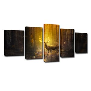 Autumn Landscape Canvas Wall Art Elk Forest Painting for Home Decor Unframed