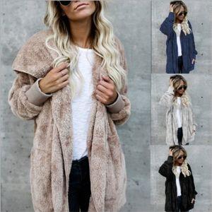S-5XL Faux Fur Orsacchiotto cappotto del rivestimento delle donne Moda Open Stitch inverno cappotto incappucciato femminile manica lunga giacca Fuzzy 2018 Hot Nuovo