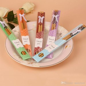 """Çin """"Doğu Meet Batı"""" Doğal Bambu Chopsticks bulaşığı Düğün Favor Parti Hediye eşyalar Ücretsiz Kargo ZA5423"""