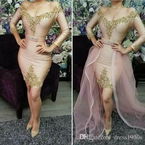 Charming Cocktail Dresses Long Sleeves Evening Dresses Off-shoulder Gold Sequins Zipper Back Short Prom Gowns Arabic Party Gowns