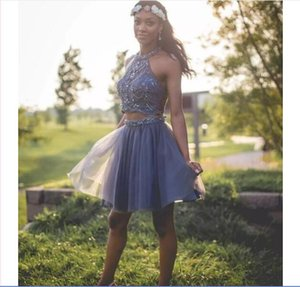 O-Neck Two Piece Lavender Homecoming Dresses Beaded Sexy Tulle Skirt Custom Girl Pageant Prom Party Gowns Beaded Crystal