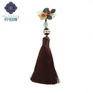 Étnica Handmade Shell Flor Bronze Folha Broche Branco Shell Cartão Lampwork Oscila Marrom Fio Borla Broche XZ-18094
