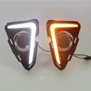 DRL LED Дневной свет для Toyota RAV4 2016 2017 Дневные ходовые огни с укладкой Противотуманные фары Hole автомобиля ABS Водонепроницаемый