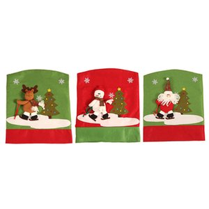 Noel Sırt Sandalye Kapak Savrulma Noel Baba Kardan Adam Geyik Sofra Süsleri Ev Sandalye Arka Kapak Yılbaşı Dekor JK1910