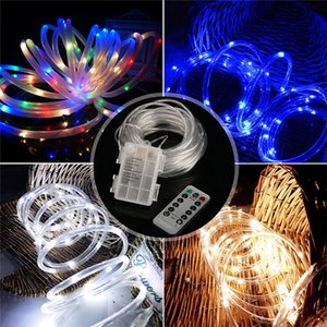 10m 100 LED String Lights Transparent Tube Remote Control Christmas Tree Hanging Ornament Battery Box For Party Xmas NEW Year