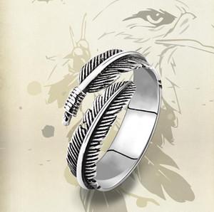Kadınlar Takı Hediye Parmak Açık Tüy Yüzük Tek Punk Skull Ring için 925 Gümüş Tay Gümüş Tüy Yüzük