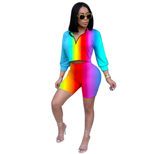 2 Piece Set Women Sexy Long Sleeve Top And Shorts Bodycon Tracksuit Clothing Casual Two Pieces Stretchy Outfits
