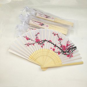Plum Blossom Wedding Hand Fan Cherry Blossom Silk Bamboo Fan Wintersweet Bamboo Craft Fans+Yarn Organza Bag