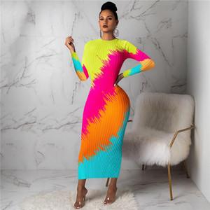 Bayan Gökkuşağı Baskı Örgü Elbise İlkbahar Sonbahar Tasarımcı Bodycon Uzun Kollu Ekip Boyun Elbiseler Kadın Moda Casual Ince Giysileri