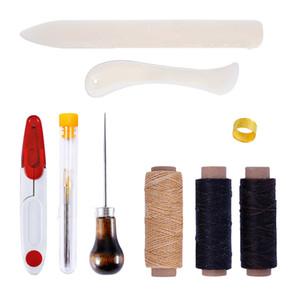 9pcs / set bricolage artisanat en cuir fil à la main poinçon ciré Thimble couture outil de couture LeatherCraft Kit pour faire des sacs