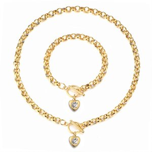 Heart Pendant Necklaces +Bracelet Bling Crystal Love Charming Gold Twisted Chain for women and Men Jewelry Accessories 3 Color X199FZ