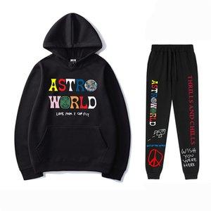AstroWorld Hoodie Мужские костюмы с длинным рукавом с капюшоном Печатные мужские Толстовки Брюки 2PCS Спортивные наборы Повседневная Сыпучие Homme Одежда