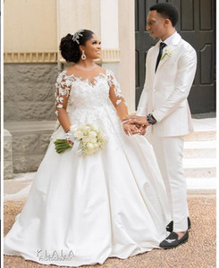 2020 plus size lace appliques A-Line Wedding Dresses Luxury ball gown elegant Bridal Gowns Real Image lace up wedding gowns
