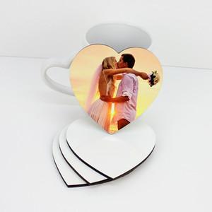 En forma de corazón en blanco sublimación Coaster MDF madera DIY customed la taza del cojín del resbalón de aislamiento Taza Mats