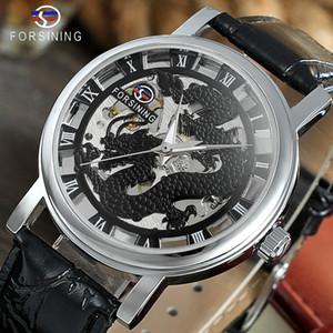 Forsining 2019 Dragon-Serie Transparent Silber Fall Männliche Armbanduhr Herrenuhr Top-mechanische Skeleton Uhr