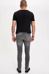 DeFacto Человек Мода Изношенную Серые Простые джинсы Брюк повседневной Классических Тонких джинсы Повседневной Эластичность Брюки Мужской -M0324AZ19SM
