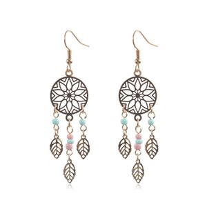 Ethnic Boho Vintage Beads Tassel Leaf Dangle Drop Earrings for Women Fashion Trend Accessories Geometric Hollow Flower Earrings