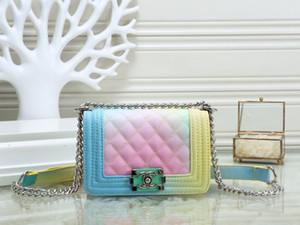 progettista di alta qualità calda arcobaleno controllata Parigi cuoio delle signore di spalla della borsa classica catena di borsa messenger portafoglio SY03