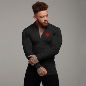 Muscleguys Marque Polo Hommes Hommes Automne manches longues Printemps Gym Slim Fit tour Collar Zipper Fitness Poloshirt Hommes Sport Jersey Polos