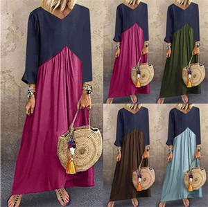 Diseñador mosaico en color para mujer vestidos de otoño del resorte largas flojas de la manga vestidos de las señoras ocasionales una línea de vestidos para mujer