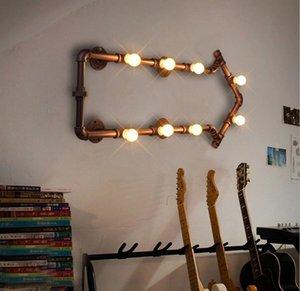 Retro LED luces de pared industriales lámparas de hierro creativas lámparas de forma de tubo de agua bar restaurante dormitorio loft accesorios LLFA