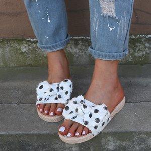 Außerhalb Sommer Frauen Hausschuhe Schmetterling Knoten Strand Polka Dot Plattform Freizeitschuhe Slides Flip Flops Zapatos De Mujer 9877W