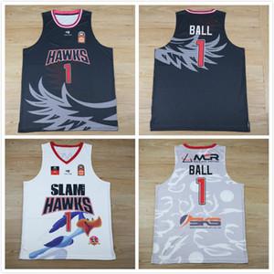 2020 novo SLAM HAWKS Liga Europeia costurado costurado 1 Lamelo Bola Swingman jerseys Jersey camisas baratas camisa de basquete preto branco