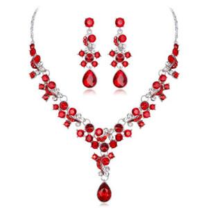 Joyería de la boda pendiente del collar de aleación de moda para las mujeres cristales semi-Piedras Nupcial Jewel envío libre fijado