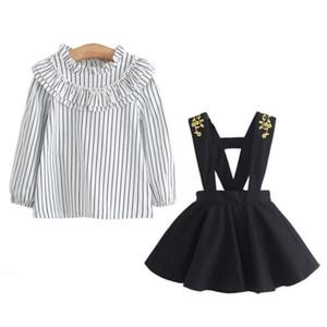 Nouveau bébé tout-petits filles Lattice Bracelet Jupe + manches longues T-shirt froncé Tenues Set Vestido roupa infantil roupas infantis