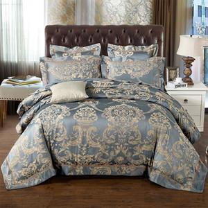 48 Bule Jacquard Satin Silk Bedding Set King Queen Size 2 / 4pcs Doona Davet Cover Bedclothes Bed Linen Cotton Home Textile
