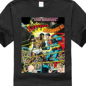 Superman Vs Muhammad Ali Couverture comique Vêtements pour hommes T-shirt mode été noir cottom manches courtes pour hommes T-shirts col rond occasionnels