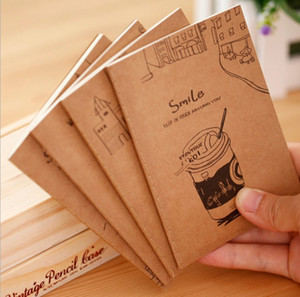Vintage Notebook Soft Copy 64K Small Notepad Kraft Paper Notebook Portable Students Gifts