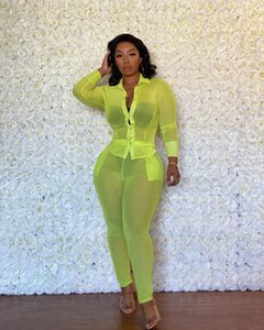 Women Two Piece Set Tracksuit Mesh See Though