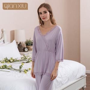 2018 خريف زائد بيجامة حجم رجال بيجامة Sweety pajama sets Female Lace Sleepwear suit نساء نصف كم v-neck Near Shirt