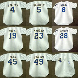 hommes Milwaukee 28 Prince Fielder 4 Paul Molitor 23 GREG VAUGHN 8 BJ Ryan Braun 5 SURHOFF 45 ROB DEER 49 baseball Jersey 1982 TEDDY HIGUERA