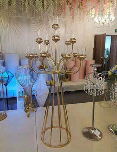 Metal Mumluk Mumluklar Lüks Ev Partisi Dekorasyon EEA1421-5 için Düğün Masa Centerpieces Yol Kurşun Noel Standları