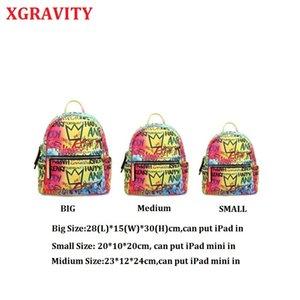 XGRAVITY NEW Graffiti-Rucksack Frauen Regenbogen-bunte Rucksack Damen Reisetasche Lässige Schulranzen Jugendliche H034