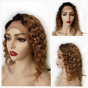 Pixie Cut Human Hair Bob Wig Deep Wave Honey Blonde Ombre Glueless Lace Front Wig For Black Women 1B 27 Colored Indian Curly Short Bob Wig