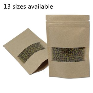 Brown Kraft Paper Bag Doypack Reißverschluss Paket Party-Snacks Tee Kaffee Aufbewahrungsbeutel Stand Up Verpackung Beutel mit klaren Kunststoff-Fenster