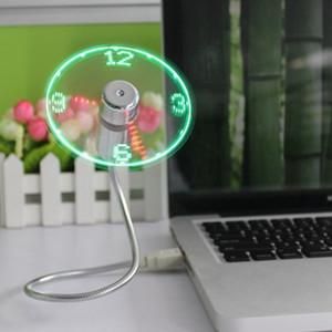 Светодиодный свет USB-вентилятор Прочный регулируемый USB Gadget Мини Гибкий Time Clock Охладить Gadget Real Time Display настольную декоративную FFA3802